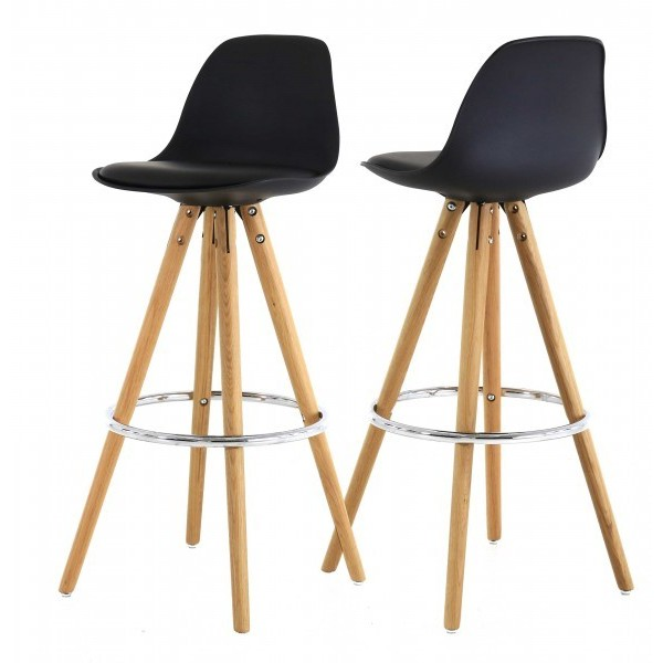 tabouret de bar kali coque pp galette pu pieds ch ne rond seat in. Black Bedroom Furniture Sets. Home Design Ideas